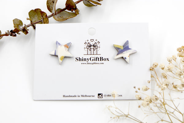 White & Purple Star Studs