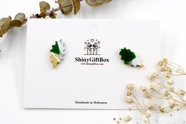 Mustard & Green Christmas Leaves Holly Studs