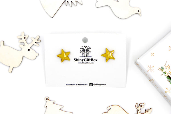 Matt Yellow & Gold Star Studs