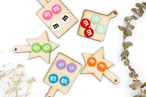 M&M Clip On Studs -  Assorted Colours