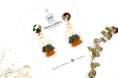 White Green Beige Trio Tassels