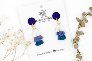 White & Blue Trio Tassels