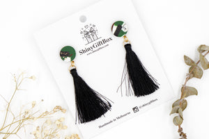 Black & Green Swirl Statement Long Tassel