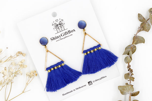 Navy Blue Triangle Tassels
