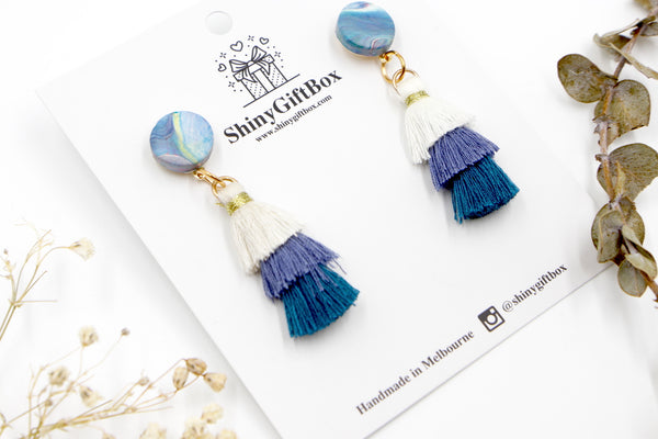 Watercolour Blue Trio Tassels