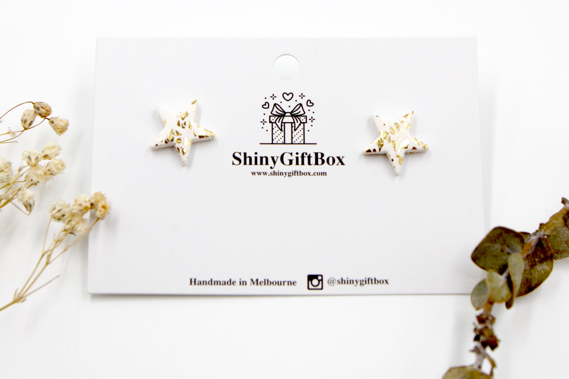 White & Gold Star Studs