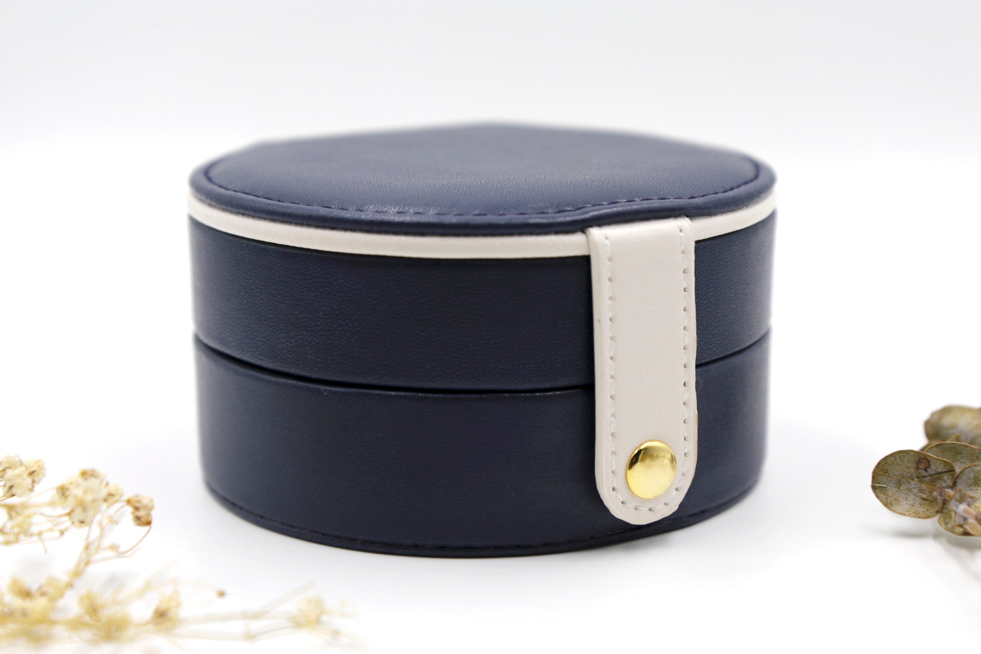 Navy & White Round Jewellery Travel Box