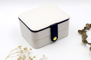 Pearl White & Navy Rectangle Jewellery Travel Box