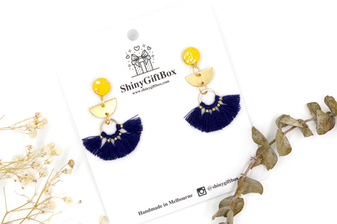 Yellow & Navy Blue Half Moon Tassels