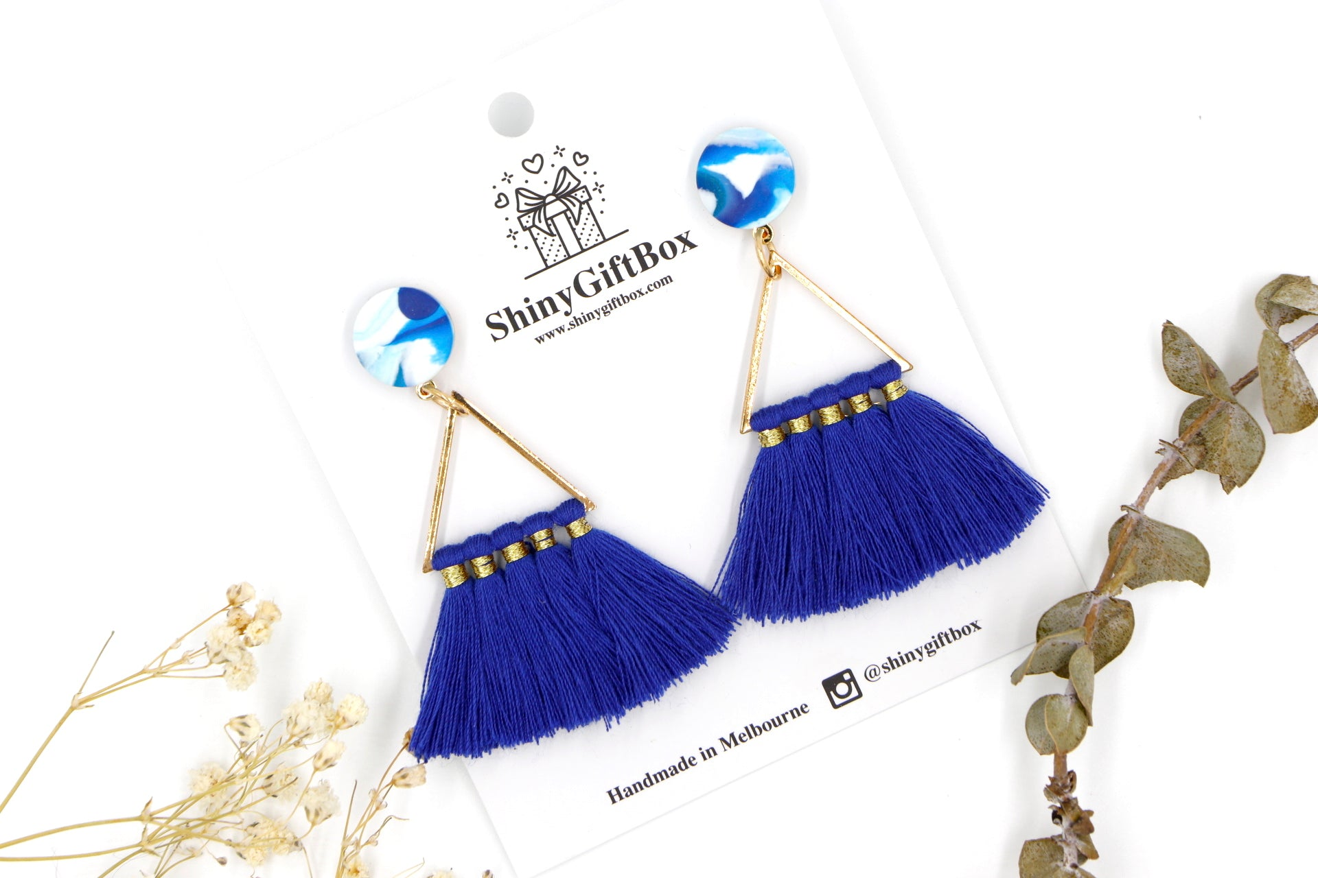 Navy & Water Colour Triangle Tassels