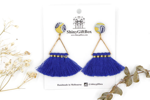 Blue Triangle Tassels with Mustard Top