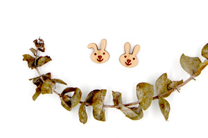 Rabbit Bunny Wooden Earrings