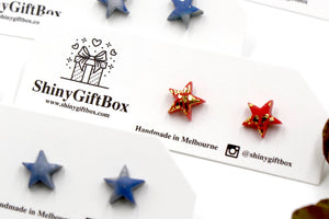 Red & Gold Star Mini Studs