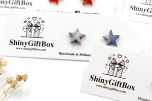 Blue & Silver Glitter Star Mini Studs