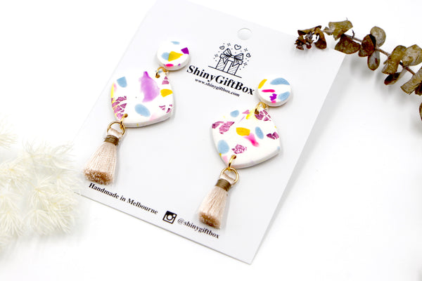 White & Pastel Statement Tassel