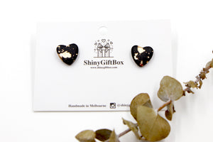 Black & Gold Love Heart Studs