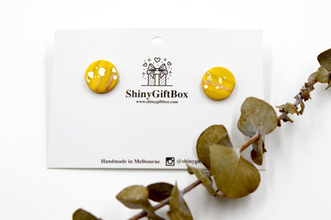 Yellow Galaxy Gold Foil Studs