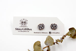 Shih Tzu Dog Wooden Earrings - Grey