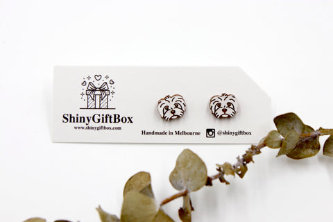 Shih Tzu Dog Wooden Earrings - White