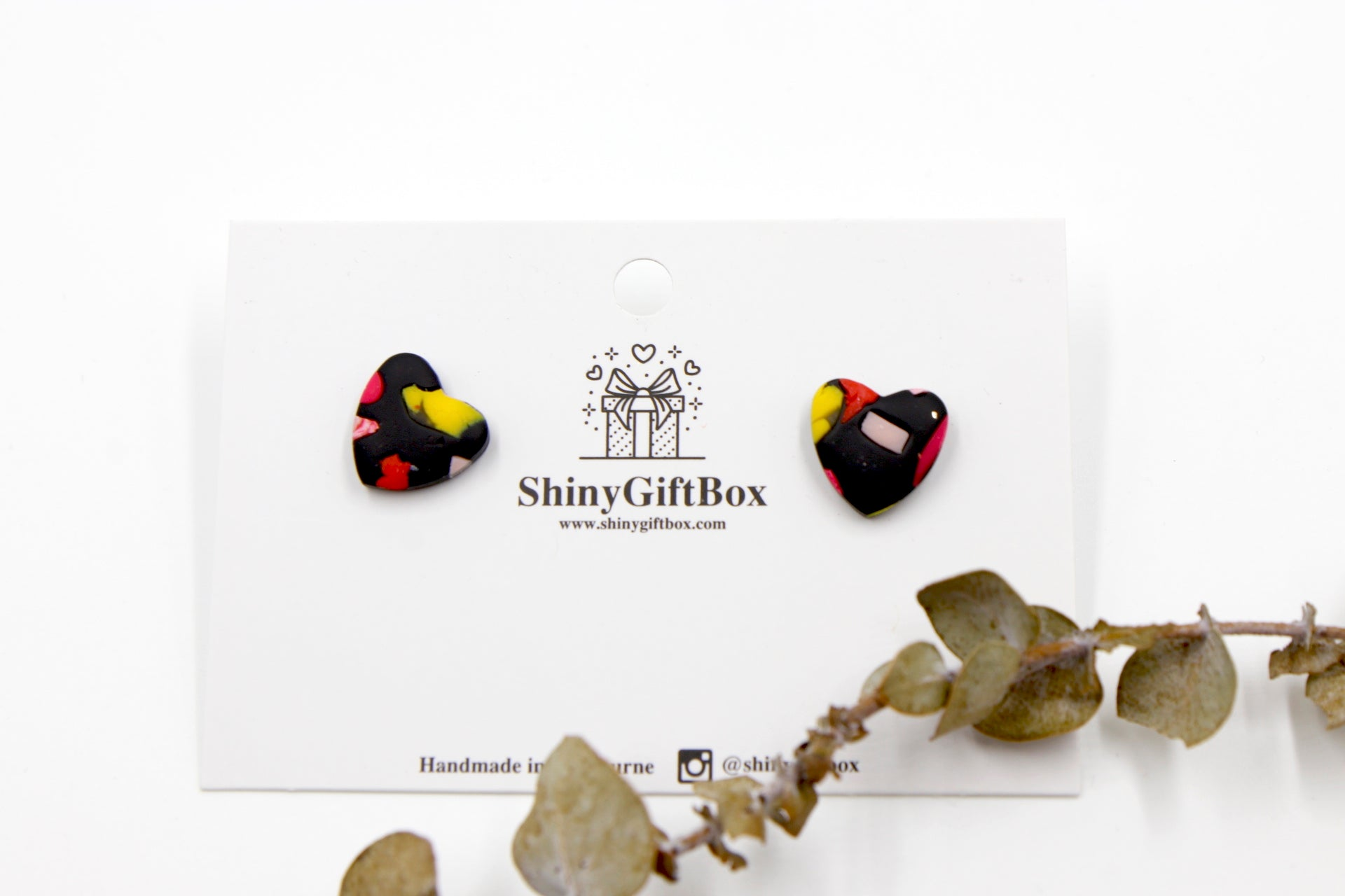 Black Colourful Love Heart Studs