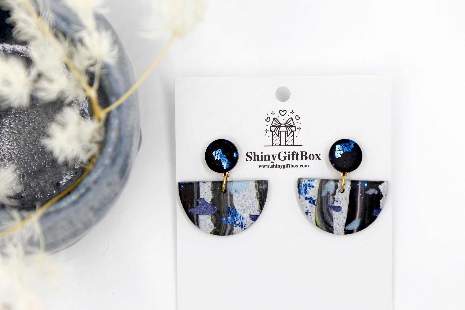 Granite Black & Blue Half Moon Dangle