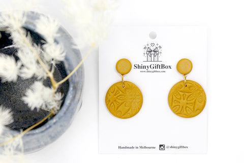Mustard Yellow Leather Effect Circle Dangle
