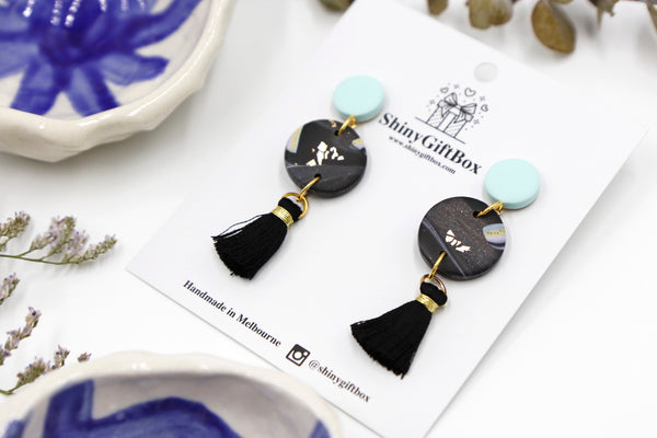 Baby Blue & Black Tassels Dangles
