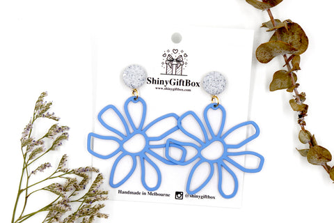 Blue Giant Daisy Flower Statement Dangle