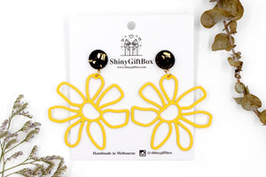 Yellow Giant Daisy Flower Statement Dangle