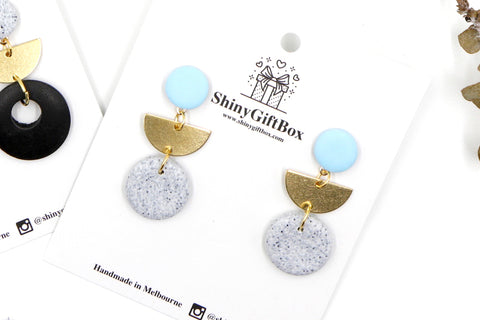 Baby Blue & Granite Half Moon Dangle