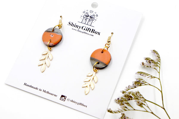 Peach & Grey Gold Leaf Hook Dangle