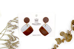 Brown & Granite Square Dangle