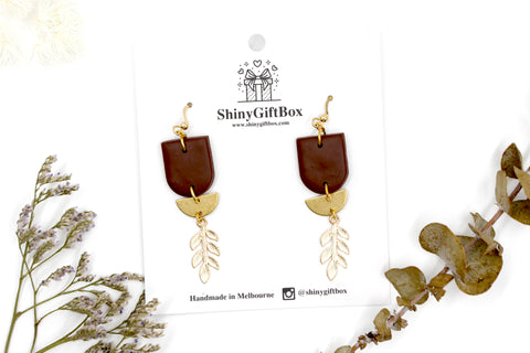 Brown & Gold Leaf Hook Dangle