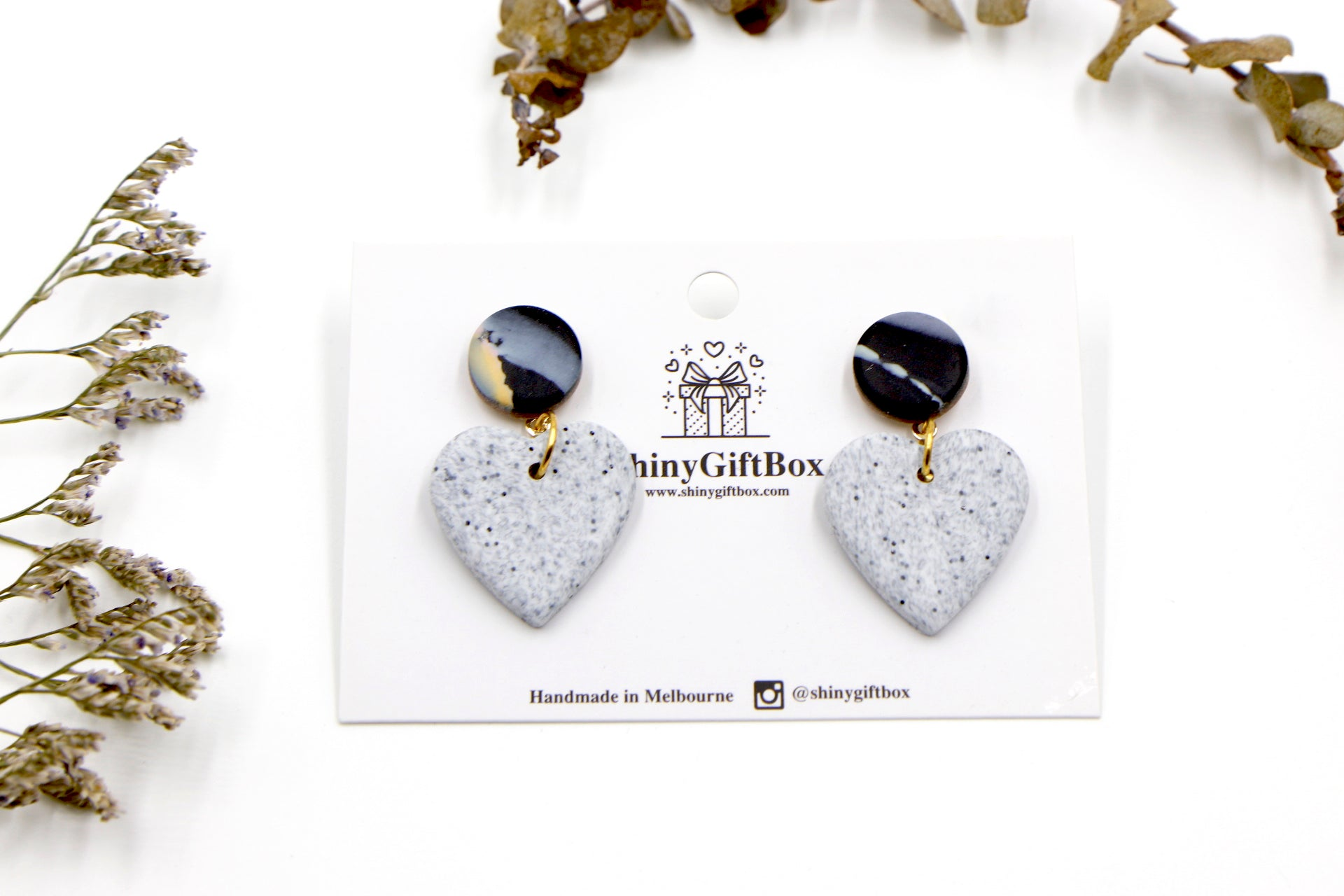 Black & Granite Hearts Dangle