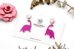Magenta Small Dinosaur Dangle with White Top