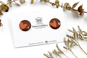 Chocolate Love Heart Large Studs