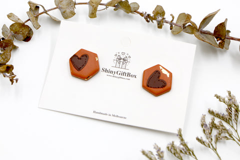 Chocolate & Cinnamon Love Heart Hexagon Studs