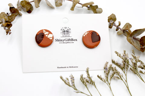 Cinnamon Love Heart Large Studs