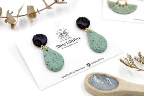 Small Black & Mint Granite Tear Drop Dangle