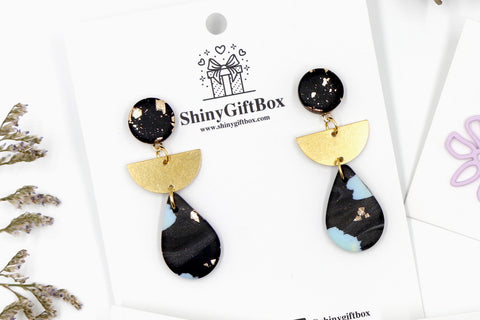 Gold & Black Tear Drop Dangle