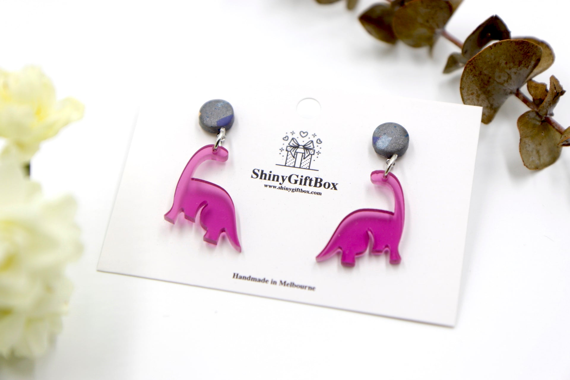 Magenta Small Dinosaur Dangle with Silver Glitter Top