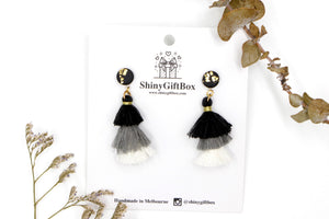 Black & White Trio Tassels Dangle