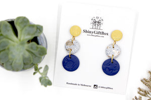 Mustard Gold Granite & Navy Triple Drop Dangle