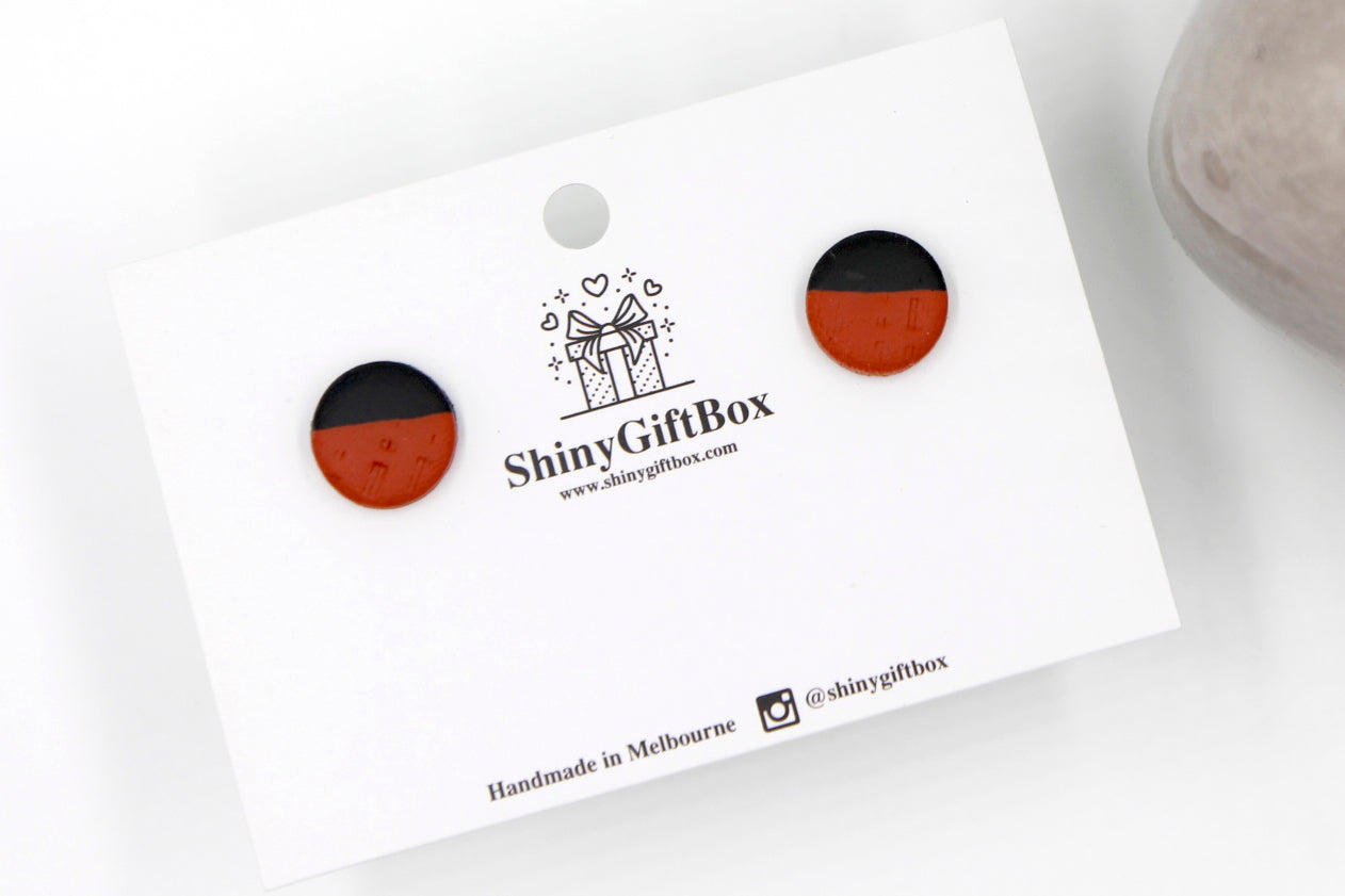Black & Cinnamon Textured Studs
