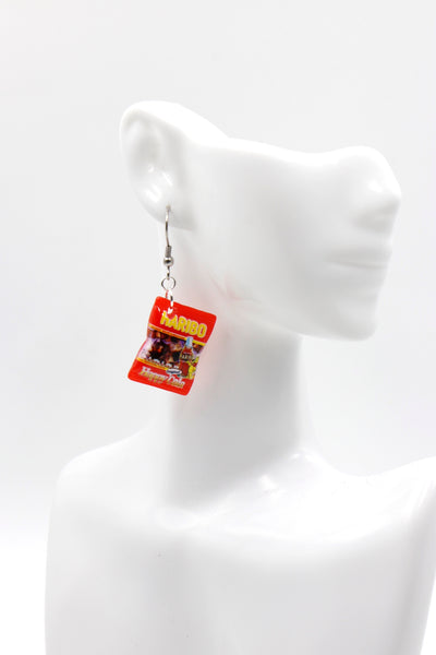 Red Lolly / Candy Bag - Cola Bottle Novelty Hook Earrings