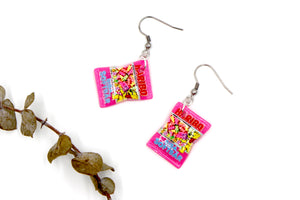 Pink Lolly / Candy Bag - Gummy Bear Novelty Hook Earrings