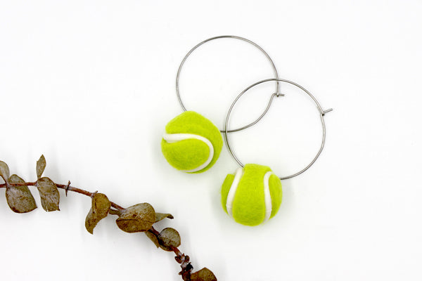 Tennis Ball Hoop Earrings - Novelty Fun Sports Earrings