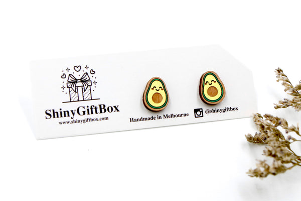 Avocado Wooden Stud Earrings