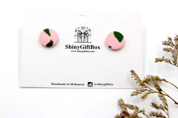 Pink & Green Stud Earrings