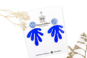 Blue Glitter Water Splash Statement Dangle